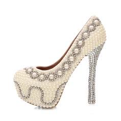 Women's Real Leather Stiletto Heel Closed Toe Platform Pumps With Imitation Pearl Rhinestone