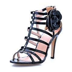 Pelle verniciata Tacco a spillo Sandalo Con cinturino con Fiore scarpe