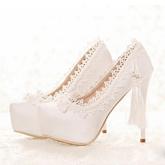 Women's Leatherette Stiletto Heel Closed Toe Platform Pumps With Imitation Pearl Tassel
