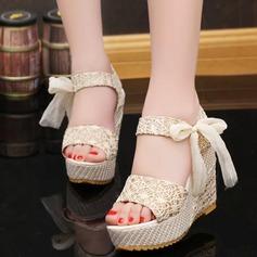 Women's Wedge Heel Sandals Wedges Peep Toe Slingbacks With Bowknot Jewelry Heel shoes