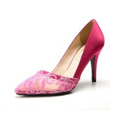 Cetim Salto agulha Bombas Fechados com Flor sapatos