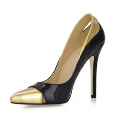 Piel brillante Tacón stilettos Salón Cerrados con Material Block zapatos