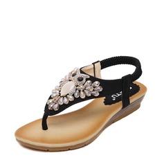 Femmes Similicuir Talon plat Sandales Chaussures plates À bout ouvert avec Strass Élastique chaussures