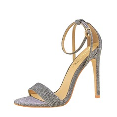 Women's Sparkling Glitter Stiletto Heel Sandals Pumps Peep Toe With Buckle shoes
