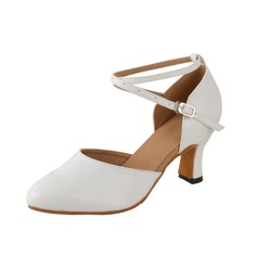 Women's Leatherette Heels Pumps Modern With Ankle Strap Dance Shoes