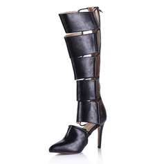 Leatherette Knee High Boots With Zipper shoes