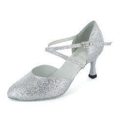 Women's Sparkling Glitter Heels Pumps Modern Ballroom With Ankle Strap Dance Shoes
