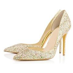 Sparkling Glitter Stiletto Heel Pumps Closed Toe shoes