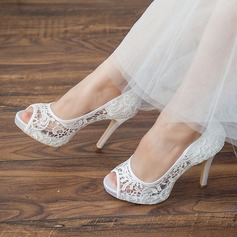 Kvinnor Spets Satäng Stilettklack Peep Toe Pumps Sandaler
