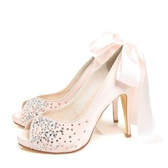 Women's Satin Stiletto Heel Peep Toe Platform Beach Wedding Shoes With Bowknot Rhinestone