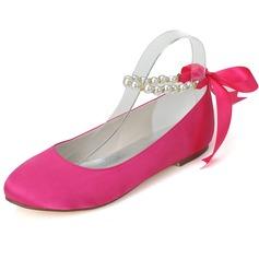 Women's Satin Flat Heel Closed Toe Flats With Bowknot Imitation Pearl