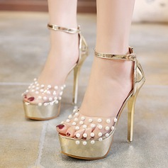 Women's Leatherette PVC Stiletto Heel Pumps Platform Peep Toe With Imitation Pearl shoes