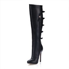 Leatherette Stiletto Heel Closed Toe Knee High Boots With Buckle shoes