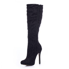 Suede Stiletto Heel Knee High Boots With Animal Print Zipper shoes
