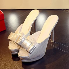 Women's Leatherette Stiletto Heel Sandals With Bowknot shoes
