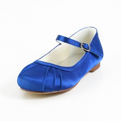 Kids' Satin Flat Heel Closed Toe Flats With Buckle