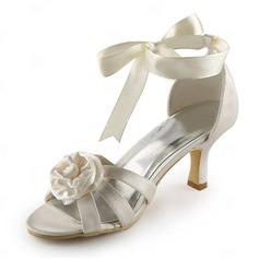 Saten İnce Topuk Sandalet Düğün Ayakkabıları Ile Saten Çiçek