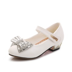 Girl's Leatherette Flat Heel Closed Toe Flats With Bowknot Sequin