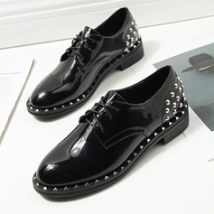 Women's Patent Leather Flat Heel Flats Peep Toe With Rivet Lace-up shoes
