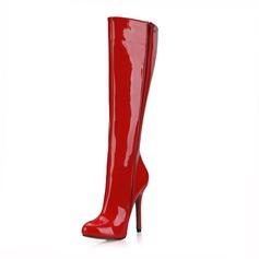 Vrouwen Patent Leather Stiletto Heel Pumps Closed Toe Laarzen Knie Lengte Laarzen schoenen