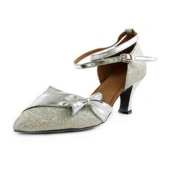 Women's Leatherette Sparkling Glitter Heels Pumps Modern With Bowknot Ankle Strap Dance Shoes