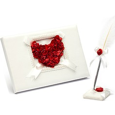 Rose Love Petals Guestbook & Pen Set