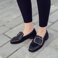 Women's Leatherette Low Heel Closed Toe With Buckle shoes