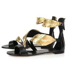 Vrai cuir Talon plat Sandales Chaussures plates chaussures