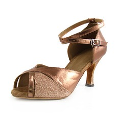 Women's Leatherette Sparkling Glitter Heels Sandals Latin With Ankle Strap Dance Shoes