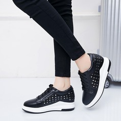 Women's Leatherette Wedge Heel Wedges With Sequin Lace-up Hollow-out shoes