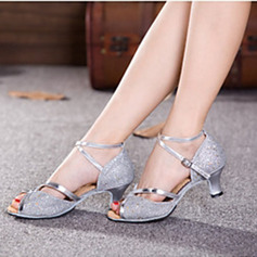 Women's Sparkling Glitter Heels Sandals Pumps Latin Modern Jazz Ballroom Salsa Party Tango With Ankle Strap Hollow-out Sequin Dance Shoes