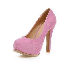 Espumante Glitter Salto robusto Bombas Fechados com Espumante Glitter sapatos