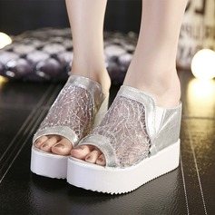 Women's Mesh PU Wedge Heel Sandals Wedges Peep Toe With Elastic Band shoes