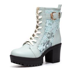 Femmes Similicuir Talon bottier Plateforme Bout fermé Bottines chaussures