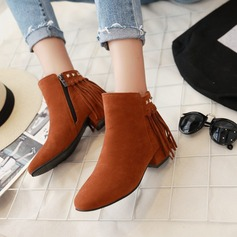 Women's Suede Chunky Heel Boots Mid-Calf Boots With Rivet Zipper Tassel shoes