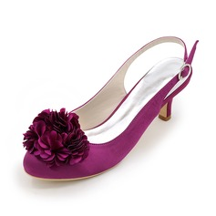 Women's Silk Like Satin Stiletto Heel Slingbacks With Satin Flower