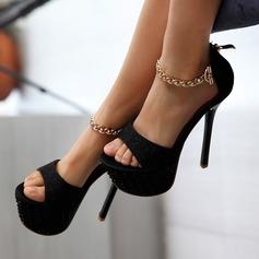 Femmes Similicuir Talon stiletto Sandales avec Cristal Pailletes scintillantes Chaîne chaussures