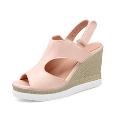 Women's Leatherette Wedge Heel Sandals Wedges Slingbacks With Buckle shoes