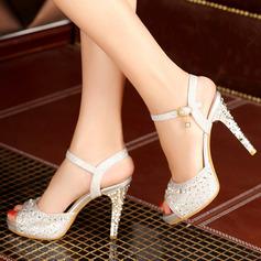Femmes Similicuir Talon stiletto Sandales avec Pailletes scintillantes Boucle chaussures