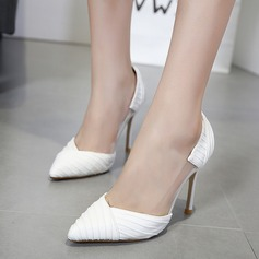 Women's PVC PU Stiletto Heel Pumps Closed Toe With Ruffles shoes
