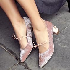Femmes Velours Talon bottier Mary Jane avec Dentelle chaussures
