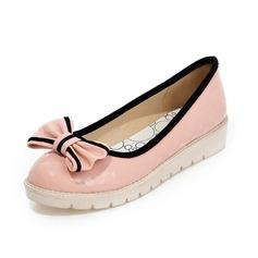Cuir verni Chaussures plates Escarpins Bout fermé avec Un nœud chaussures