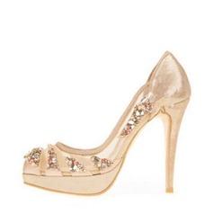 Femmes Mesh Talon stiletto Bout fermé Plateforme Beach Wedding Shoes avec Strass