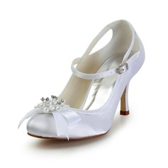 Women's Satin Cone Heel Closed Toe Pumps With Imitation Pearl