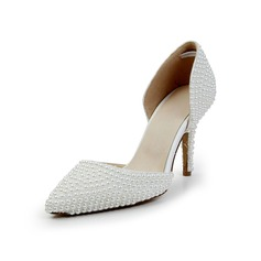 Women's Patent Leather Cone Heel Closed Toe Pumps With Imitation Pearl