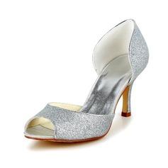 Women's Sparkling Glitter Stiletto Heel Peep Toe Pumps Sandals