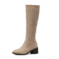 Women's Suede Chunky Heel Boots Mid-Calf Boots shoes (088098365)